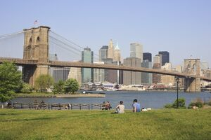 Manhattan and the Brooklyn Bridge from Empire-Fulton Ferry State Park, New York