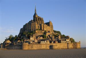 Mont St. Michel at dusk, La Manche region, Basse-Normandie, France