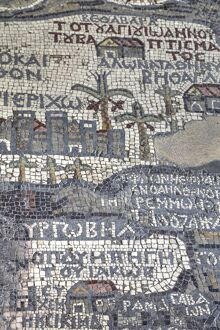 Oldest map of Palestine, mosaic, dated AD 560, St. George's Church, Madaba, Jordan