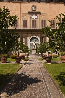 The outdoor courtyard of Palazzo Medici Riccardi, Florence, Tuscany, Italy, Europe