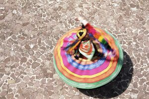 Overhead view of a Mestiza Cuzquena dancer in motion