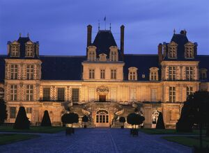 The Palace of Fontainebleau illuminated at night, UNESCO World Heritage Site