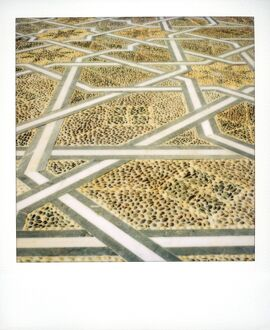 Polaroid image of geometric patterns in paving at Mausoleum