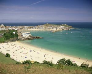 Porthminster beach and harbour, St. Ives, Cornwall, England, United Kingdom, Europe
