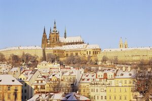 Prague Castle and houses of Mala Strana suburb in winter, Prague, Czech Republic, Europe