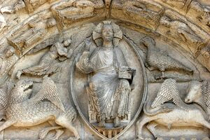 Sculpture of Royal Gate, central tympanum, Chartres Cathedral, UNESCO World Heritage Site