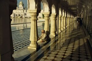 Sikh elder at prayer at the Golden Temple of Amritsar