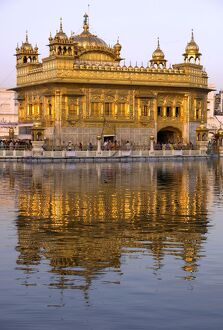 The Sikh Golden Temple reflected in pool
