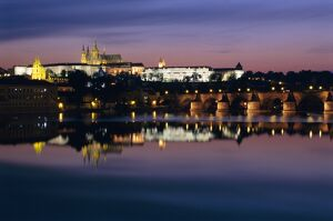 St. Vitus Cathedral and castle, Karlov Most (Charles Bridge) across the Vltava River