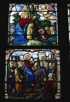 Stained glass of Christ entering Jerusalem and the Garden of Gethsemane