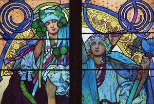 Stained glass by Mucha, St. Vitus Cathedral, Prague, Czech Republic, Europe