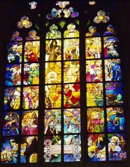 Stained glass windows, St. Vitus Cathedral, Prague, Czech Republic, Europe