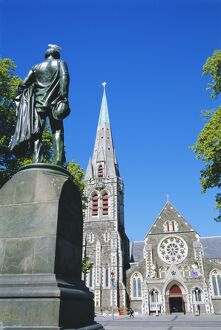 Statue of J R Godley and the Cathedral