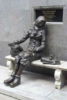 Statue by Tommy Steele of the eponymous woman of the Beatles song, Eleanor Rigby