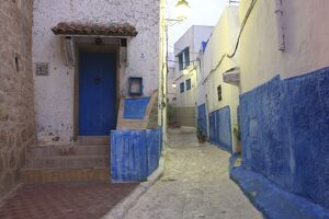 Typical street in Old Town, Rabat, Morocco, North Africa, Africa