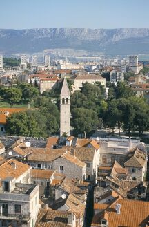 View over Diocletian's palace area of the Old Town from cathedral campanile