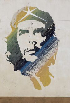 A wall painting of Che Guevara in Habana Vieja (old town), Havana, Cuba
