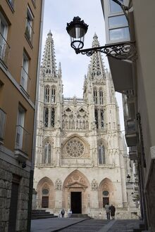 West front of Burgos cathedral, UNESCO World Heritage Site, seen from a narrow side street