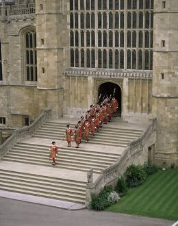 Yeoman warders at St. George's Chapel, Windsor, Berkshire, England
