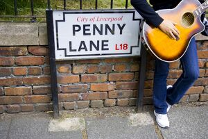 England, Liverpool, Penny Lane, immortalized by Paul McCartney