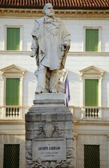 Italy, Veneto, Vicenza, Western Europe; Monument to one of the great symbolic figures of Italian unification, Giuseppe Garibaldi in the