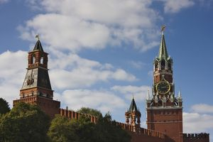 Spasskaya Tower and towers on the Red Wall in Red Square, Moscow, Russia
