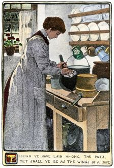 Kitchen chores, about 1900
