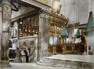 BETHLEHEM: CHURCH. Interior of the Church of the Nativity in Bethlehem. Photochrome