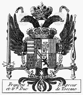 ITALIAN COAT OF ARMS. /nCoat of Arms of Francesco I de Medici (1541-1587), Grand Duke of Tuscany. French copper engraving, 18th century, from Denis Diderot's 'Encyclopedia.'