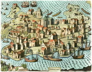 MACAO COLONY, 1598. /nThe Portuguese colony of Macao, which was the major port for foreign trade with China for 300 years. Color engraving, 1598.
