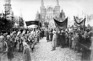 MOSCOW: RED ARMY, c1920. A review of the Red Army on Red Square in Moscow, Russia, c1920.