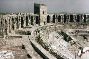 ROMAN AMPHITHEATRE, ARLES. Interior view of the Roman amphitheatre at Arles, France, late 1st century A.D.
