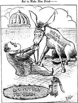 1937 But To Make Him Drink theme : You can lead a horse to waterja pump donkey pool
