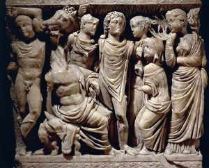 France, Arles (Arelate), Detail from Sarcophagus depicting the myth of Phaedra and Hippolytus