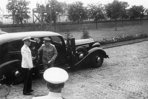 Joseph stalin getting out of his car (an american 1937 v-12 packard), late 1940s.