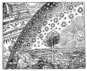 Reconstruction of medieval conception of the universe showing a flat earth surrounded