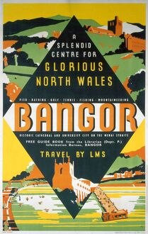'Bangor - A Splendid Centre for Glorious North Wales', LMS poster, 1923-1947.