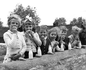 A group of children at the Chedworth, Gloucestershire, village school enjoy their