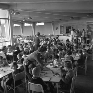 Lunch time at Jessop Primary School, Herne Hill, SE London 12th January 1961