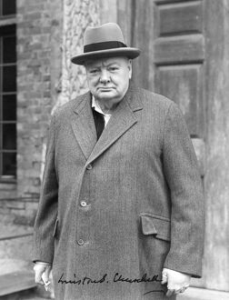 A signed portrait of Winston Churchill taken by John Topham at Chartwell