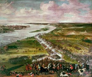 Battle for the Crossing of the Dvina, 1701 (oil on canvas)