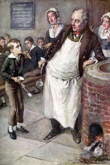 Charles Dickens 's 'The Adventures of Oliver Twist' : Oliver asks for more food. English novelist,