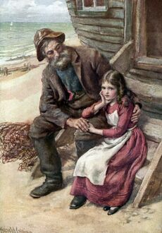 Charles Dickens 's novel 'David Copperfield' - Peggotty and Little Em'ly on the beach. English novelist