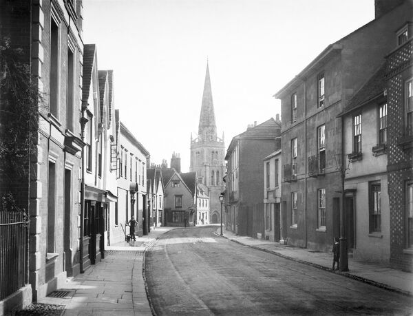 ABINGDON, Oxfordshire. A view along East St Helen Street towards St Helen's Church. Photographed in 1890 by Henry Taunt