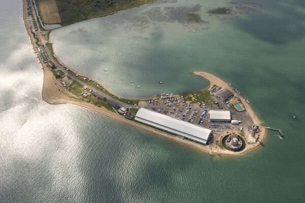 CALSHOT CASTLE, Hampshire. Aerial view of the castle showing its position on the spit
