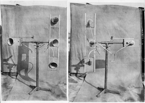 Copy of two photographs showing a sound detector. During the First World War acoustic detection devices were used to warn of enemy aircraft. The photographs were taken for the Ministry of Munitions. Bedford Lemere, 1918
