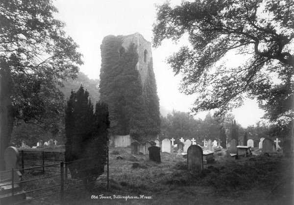 ALL SAINTS CHURCH, Gillingham, Norfolk. The remains of the ivy-clad tower of All Saints Church in Gillingham. The rest of the tower fell in 1748. The gravestones in the churchyard also remain. Photographed by W and Co. c.1900