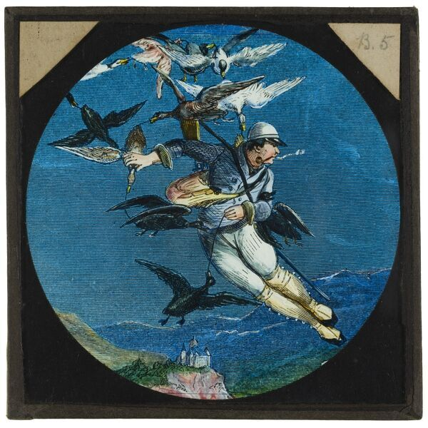 Amazing flying machines. A hand-coloured illustration from Francis Godwina€™s a€˜The Man in the Moonea€™, first published (posthumously) in 1638, in which a Spanish nobleman, Domingo Gonsales, is hoisted aloft by geese