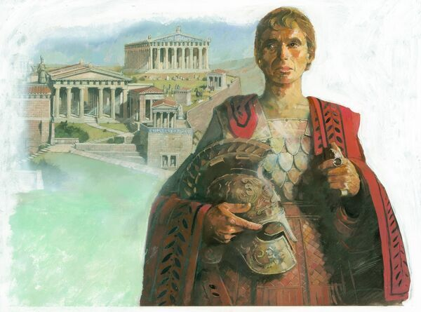 An ancient Greek warrior and/or statesman, possibly Pericles, with the Acropolis in Athens in the background. Illustration by Ivan Lapper, 1990s