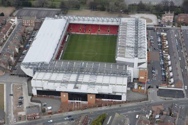 ANFIELD, Liverpool. Aerial view. Home of Liverpool Football Club. Photographed in March 2008